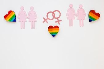 Радужные сердечки с иконками лесбийских пар