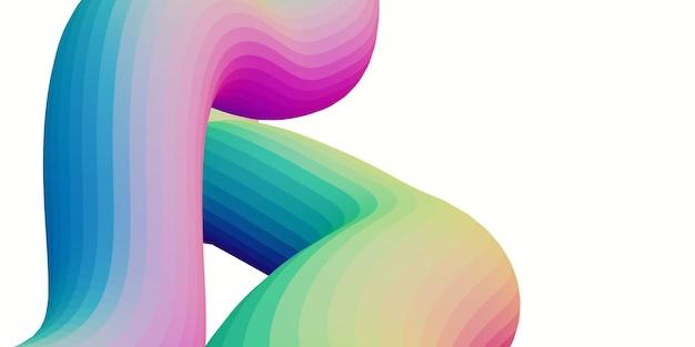 レインボーホログラフィック抽象的な波線トレンディな波のゴム線3dレンダリング Premium写真