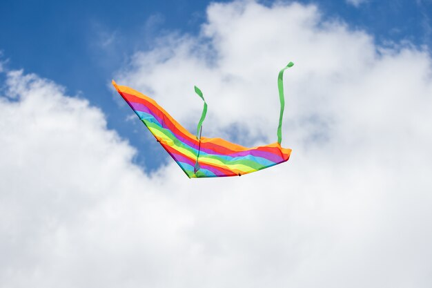 Rainbow kite flying in blue sky with clouds in summer with copyspace