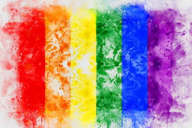 Rainbow lgbt flag digital painting.