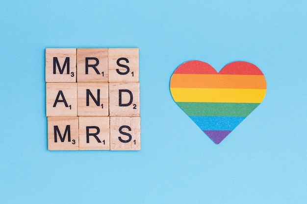 Rainbow lgbt heart and mrs letters