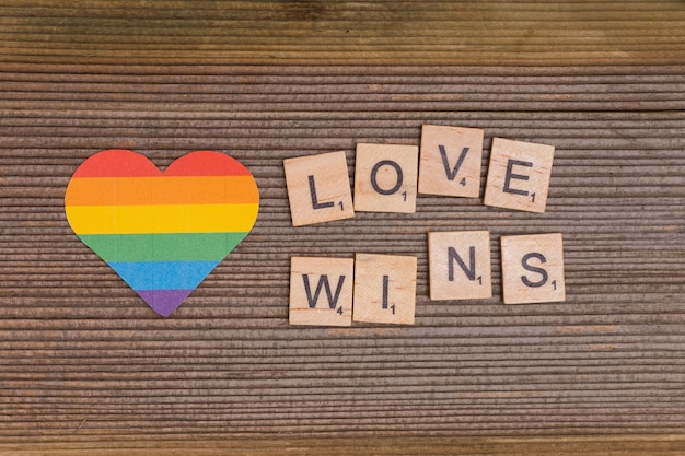 Rainbow lgbt heart with love wins sign