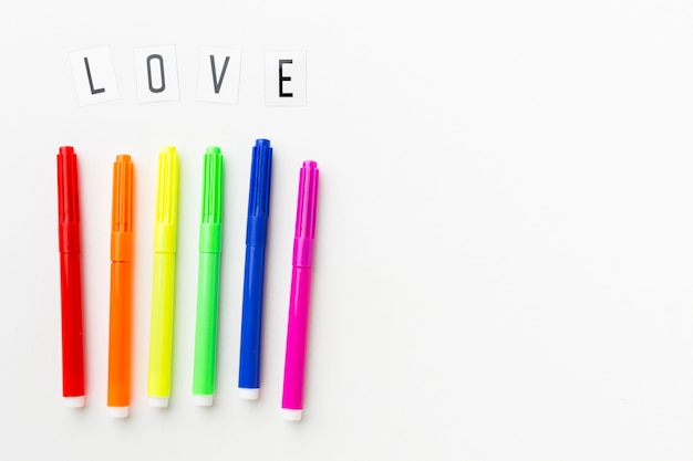 Rainbow markers for pride love