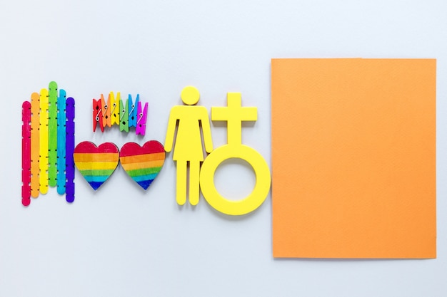 Rainbow objects for pride day on desk