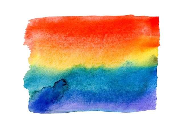 白い背景で隔離の虹のペイントストローク