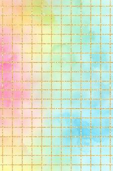 Rainbow pastel grid watercolor background texture