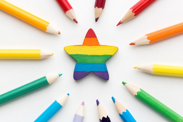 Rainbow pride flag made from pencils and star in the middle