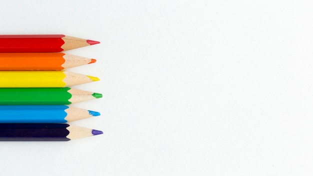 Rainbow pride flag made from pencils