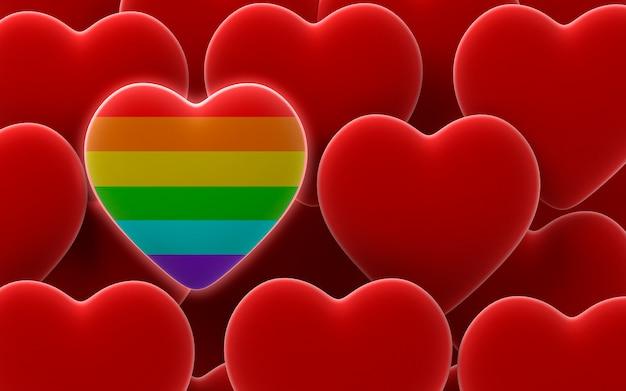 Сердце гордости радуги на фоне сердец валентина в красном