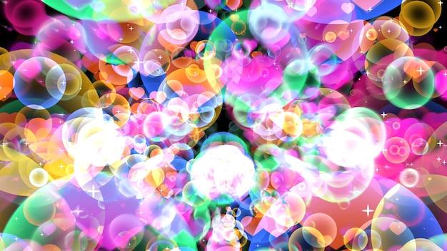白い星をテーマにバレンタインデーと愛の概念で黒い背景に浮かぶハートと虹の反射泡