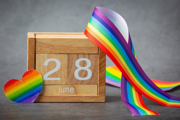 Rainbow ribbon awareness for lgbt community pride concept