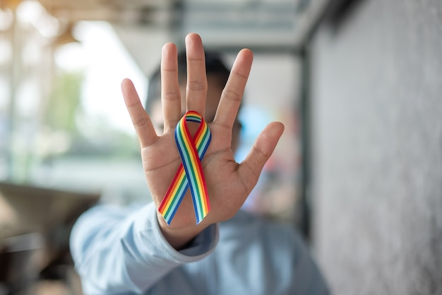 Rainbow ribbon lgbtq for lesbian, gay, bisexual, transgender and queer