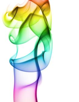 무지개 흰색 배경에 연기. 연기가 아래에서 위로 이동합니다. 연기가 사진 상단에 더 가까이 나선