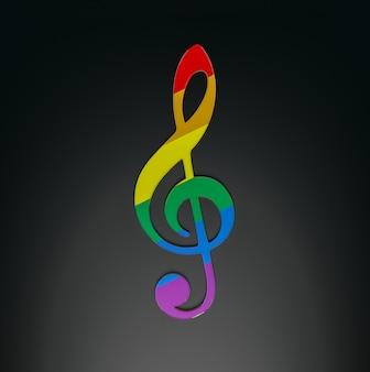 Радужный скрипичный ключ. 3d-рендеринг.