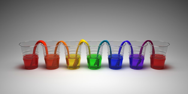 Rainbow walking water experiment on empty background. concept of science. glasses in row with colored water and wet paper between.