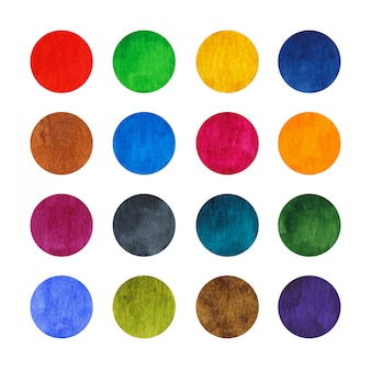Rainbow watercolor circles set isolated