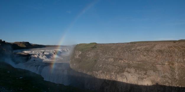Rainbow over waterfall