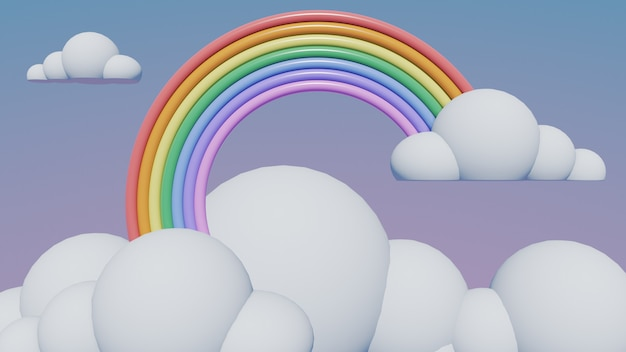 Rainbow with clouds pastel, 3d render