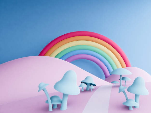 Rainbow with pastel background , 3d render .