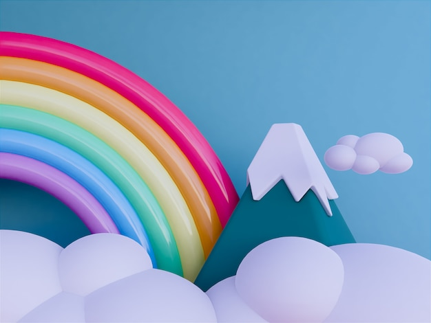Rainbow with skyscape background
