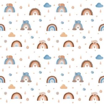 虹のデジタルペーパー、虹のスクラップブック紙、虹のシームレスなパターン、かわいい子供の壁紙