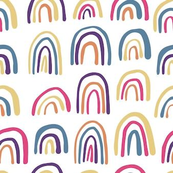 무지개 완벽 한 패턴입니다. 손으로 그린 현대 벡터 배경입니다. 귀여운 벽지. 패브릭, 텍스타일 프린트, 랩핑을 위한 심플한 디자인.
