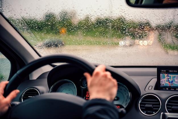 Raindrops on drivers windshield