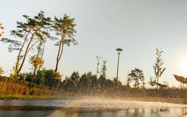 빗방울은 아스팔트와 푸른 잔디에 떨어집니다.