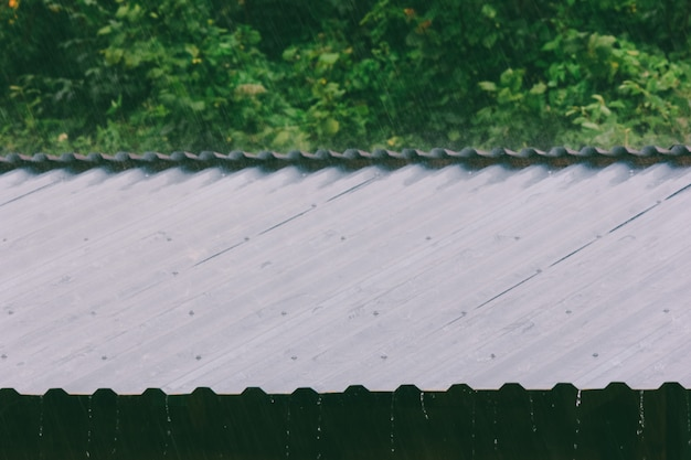 Raindrops on the metal roof on a summer day