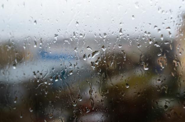 Raindrops on the street window