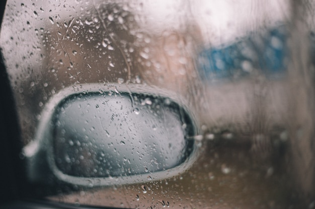 Raindrops on the window of a car mirror
