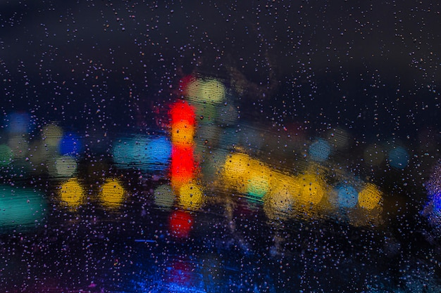 Raindrops on window at night with bokeh lights. abstract background, water drop on the glass, city lights at night.