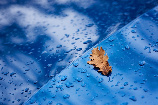 Raindrops and yellow dry leaf on the surface of a blue car. autumn texture. soft selective focus.