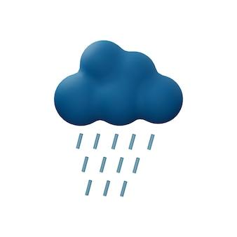 白い背景で隔離の雨雲3dイラスト。雨滴と雲の3dアイコン。集中豪雨の3dイラスト