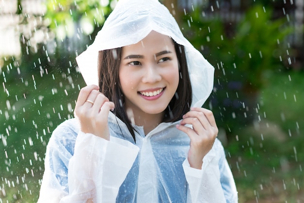 Rainy day asian woman wearing a raincoat outdoors