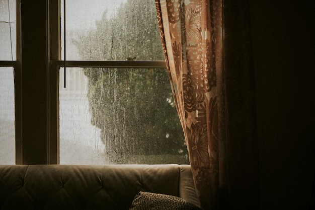 Rainy day outside the window