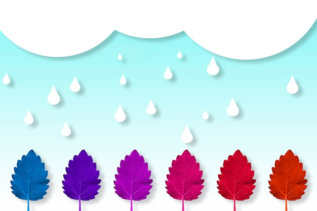 すべての秋の色で雨の日