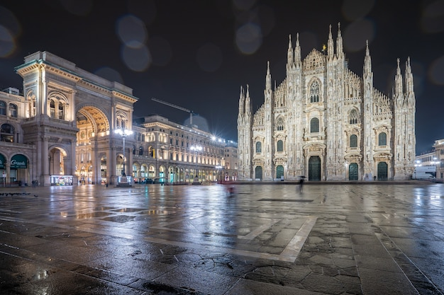 Rainy day with view of duomo in milan, italy.