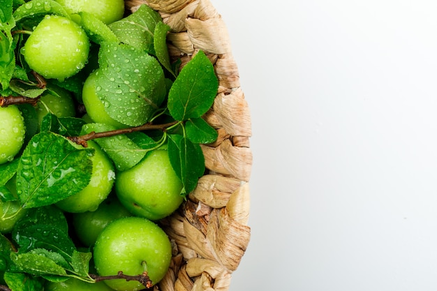 Rainy green plums in a wicker basket with leaves close-up on a white wall