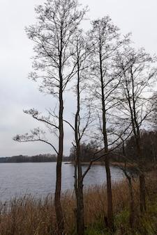 Rainy sky in the autumn season near the lake