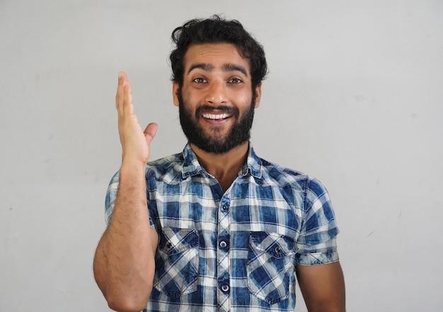 Raise hand - a man in white background