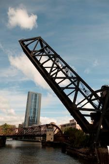 Raised drawbridge in chicago