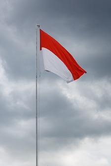 Raised flag of indonesia