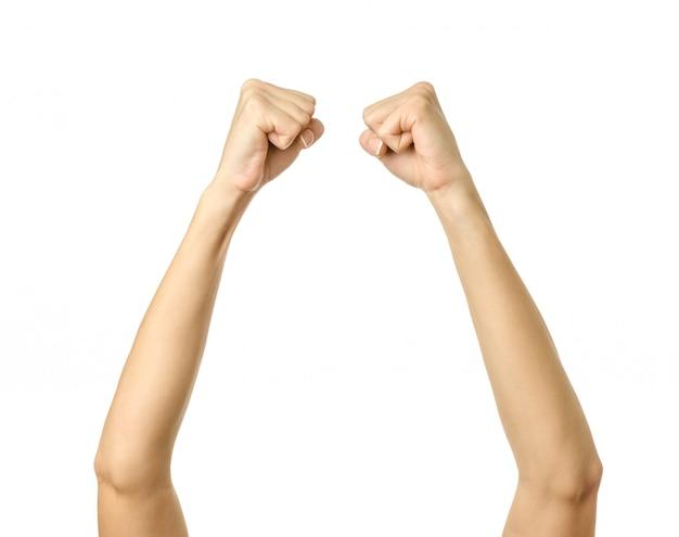 Поднял руки. жест рукой женщины изолированный на белизне