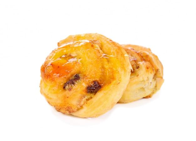 Raisin danish pastry isolated