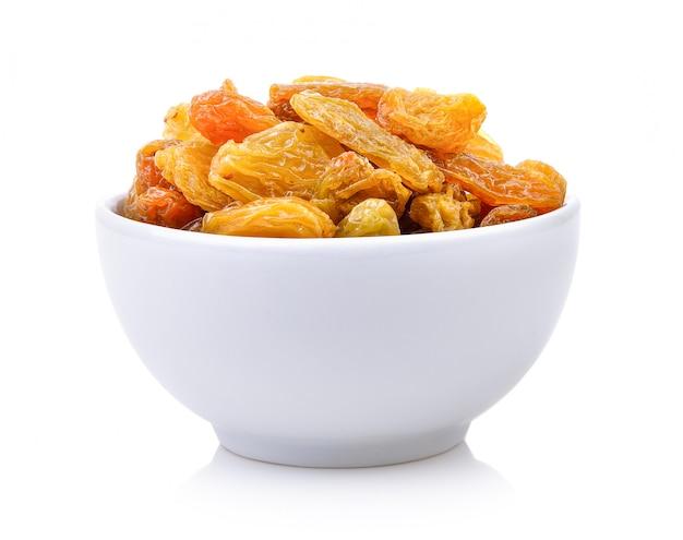 Raisin in the white bowl