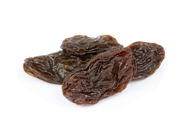 Raisins isolated on white with clipping path