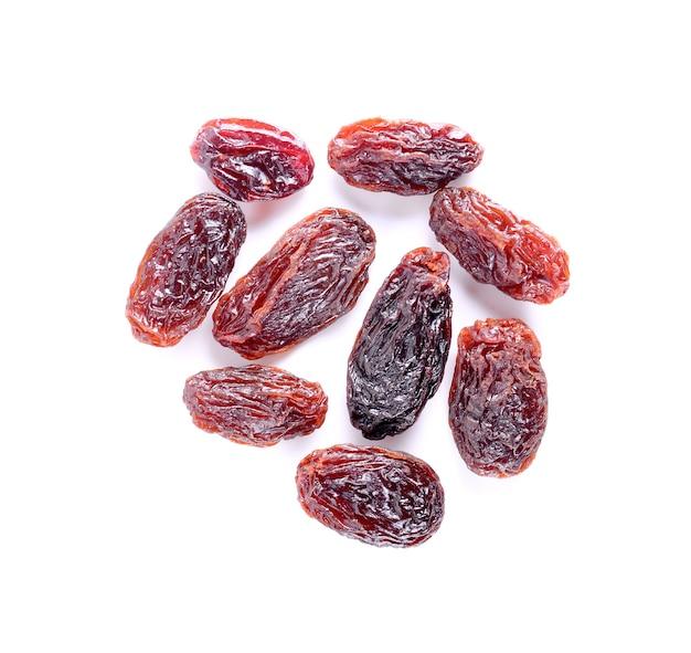 Raisins isolated on white.
