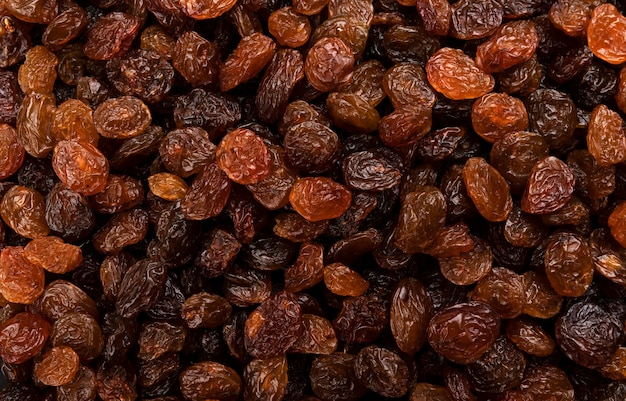 Raisins texture or background, top view close-up