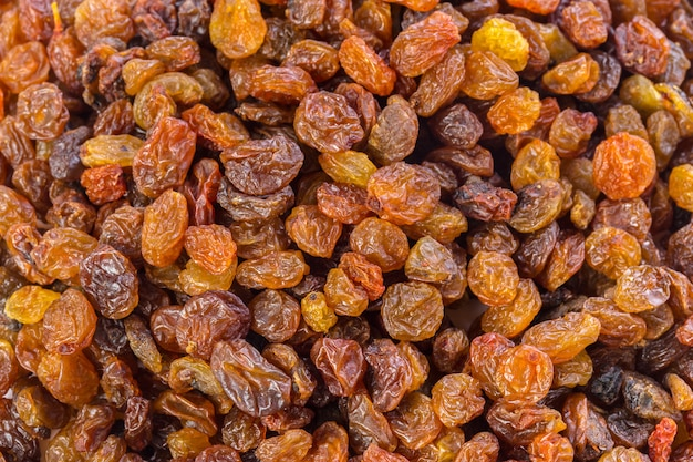Raisins texture close-up